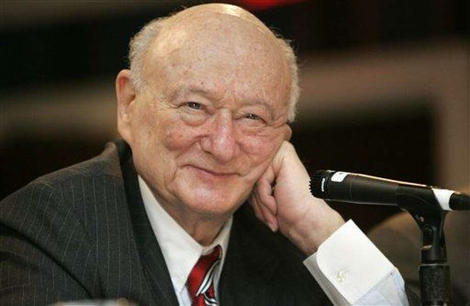 FILE - In this April 18, 2007, file photo, former New York Mayor Ed Koch listens during the 9th annual National Action Network convention in New York. Koch, the combative politician who rescued the city from near-financial ruin during three City Hall terms, has died at age 88. Spokesman George Arzt says Koch died Friday morning Feb. 1, 2013 of congestive heart failure. (AP Photo/Frank Franklin II, File) Photo: AP / AP
