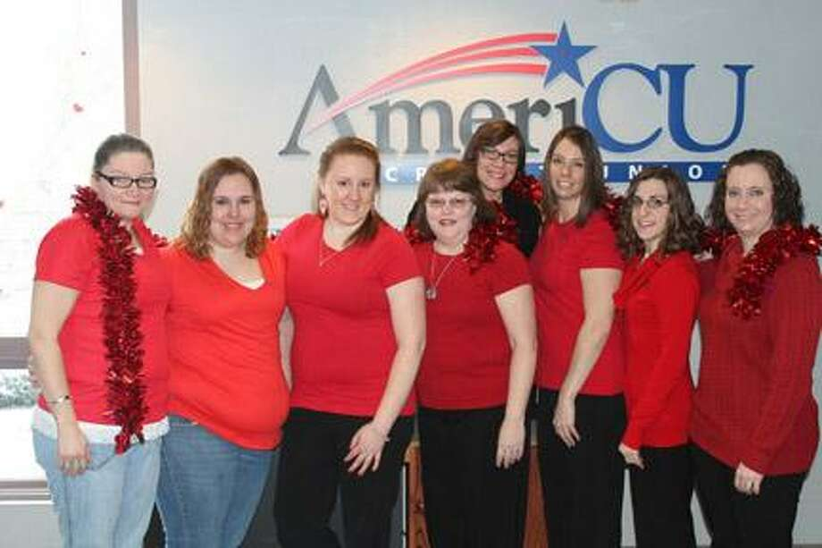 Photo Courtesy AmeriCU AmeriCU employees from left, Angela Wingerter, Ashley Yates, Savannah Hansen, Christine Rurak, Michele Riggs, Vicky Jones, Danielle Schafer and Rachel Siderine.