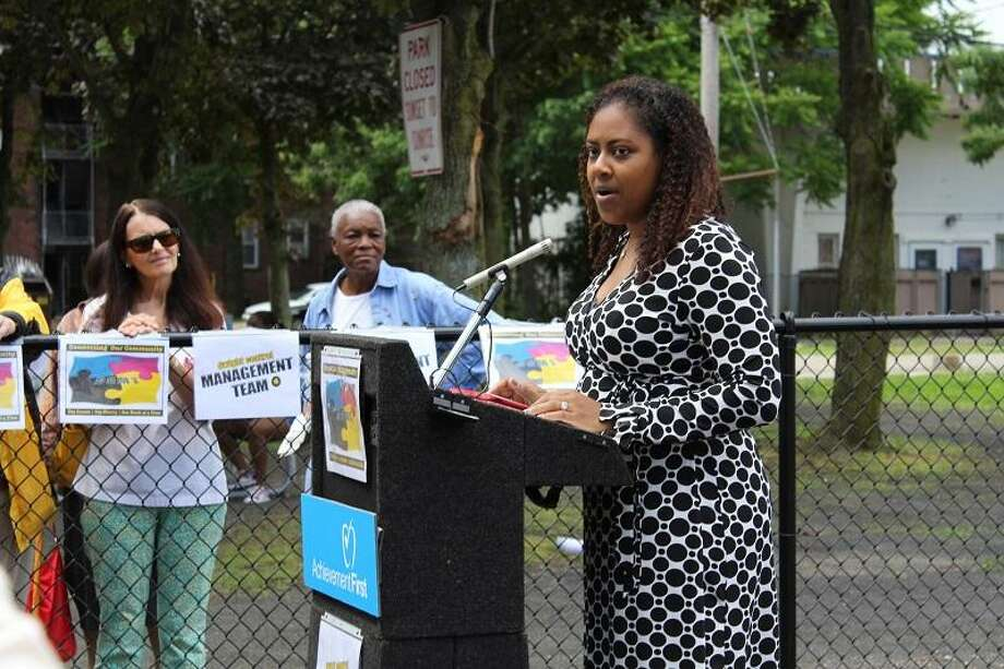 Achievement First Associate Director of External Relations Candice Dormon speaks at the dedication. Submitted photo.