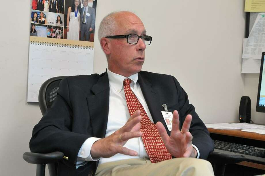 "Amity-- Amity Superintendent of Schools John Brady is retiring. Photo-Peter Casolino/Register <a href=""mailto:pcasolino@newhavenregister.com"">pcasolino@newhavenregister.com</a>"