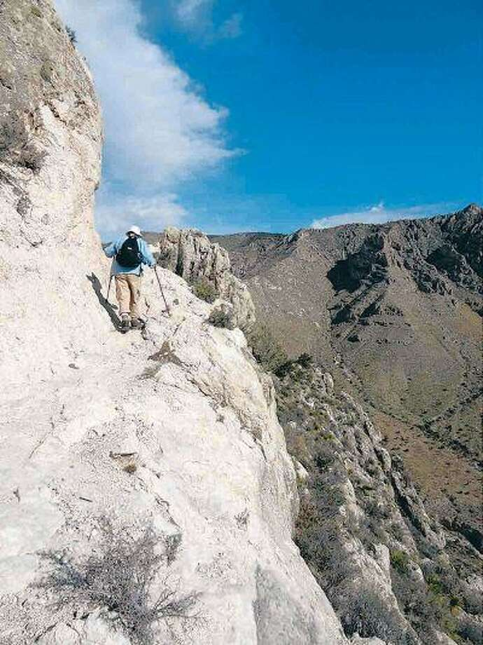 Vic Jircik hikes up to Guadalupe Peak on March 29. He has been hiking for 45 years and said the trail up this mountain was the best one he s encountered yet.