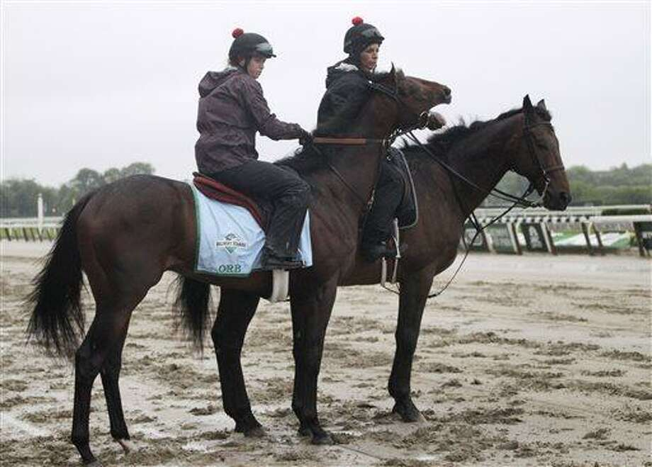Orb, left, exercise rider Jennifer Patterson up, reacts at the finish line at Belmont Park as he is walked on the track, Friday, June 7, 2013 in Elmont, N.Y. Orb is entered in Saturday's Belmont Stakes horse race. (AP Photo/Mark Lennihan) Photo: AP / AP
