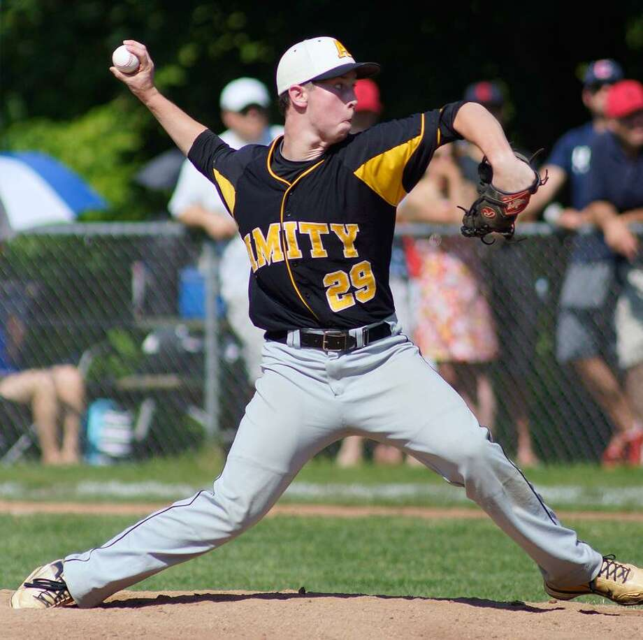 "Greenwich-- Amity pitcher Michael Concato on his way to a no-hitter as he delivers a second inning pitch against Greenwich during the Class LL quarterfinal game. Photo-Peter Casolino/Register <a href=""mailto:pcasolino@newhavenregister.com"">pcasolino@newhavenregister.com</a>"