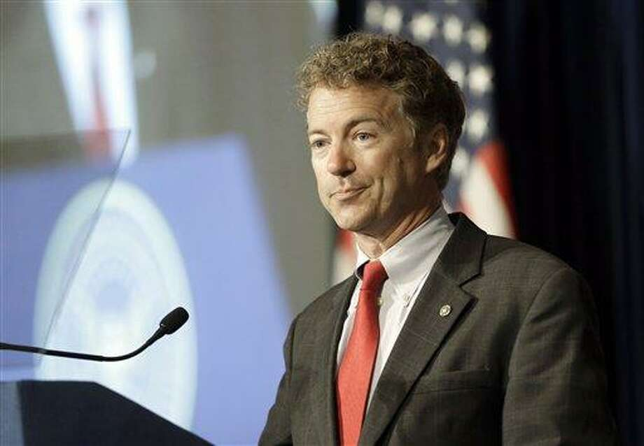 U.S. Sen. Rand Paul, R-Ky., speaks at the Ronald Reagan Presidential LIbrary in Simi Valley, Calif., Friday, May 31, 2013. (AP Photo/Reed Saxon) Photo: AP / AP