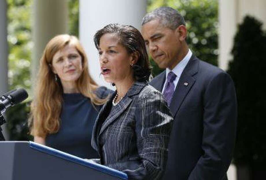 Susan Rice, the new National Security Advisor speaks as Samantha Power (L), newly appointed U.S. Ambassador to the United Nations, and U.S. President Barack Obama listen after his announcement of the appointments in the Rose Garden of the White House in Washington, June 5, 2013. REUTERS/Jason Reed (UNITED STATES - Tags: POLITICS) Photo: REUTERS / X00458