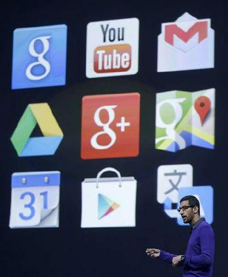 Sundar Pichai, senior vice president, Chrome and Apps at Google, speaks at Google I/O 2013 in San Francisco, May 15, 2013. Photo: AP / AP