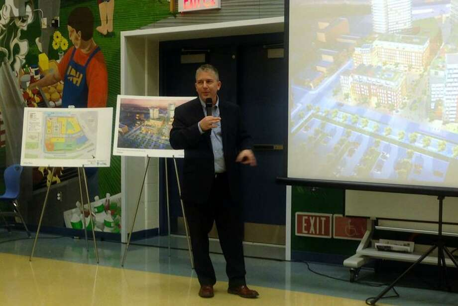 Joe Amarante/Register  Max Reim addresses the city crowd Thursday night.