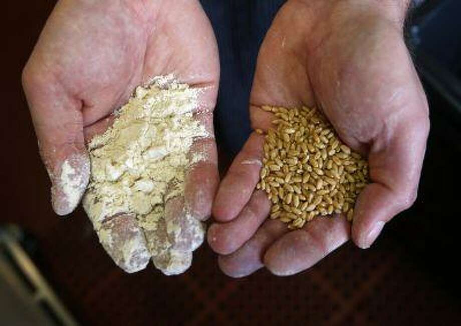 Chef de Cuisine Luciano Duco displays local grain, right, and milled flour, left, that he ground in a test mill at Oliveto restaurant in Oakland, Calif., on Thursday, March 14, 2013. Owner Bob Klein has launched Community Grains, his own line of stone-ground whole grains. Flour, beans, pasta and polenta are sold both retail and wholesale, and the flour is used to make dishes prepared at Oliveto. (Jane Tyska/Staff) Photo: JANE TYSKA / THE OAKLAND TRIBUNE/BAY AREA NEWS GROUP