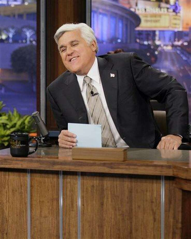 "This Oct. 24, 2012 photo released by NBC shows Jay Leno, host of ""The Tonight Show with Jay Leno,"" on the set in Burbank, Calif. NBC announced Wednesday, April 3, 2013 that Jimmy Fallon is replacing Jay Leno as the host of ""The Tonight Show"" in spring 2014. (AP Photo/NBC, Paul Drinkwater) Photo: AP / NBC"