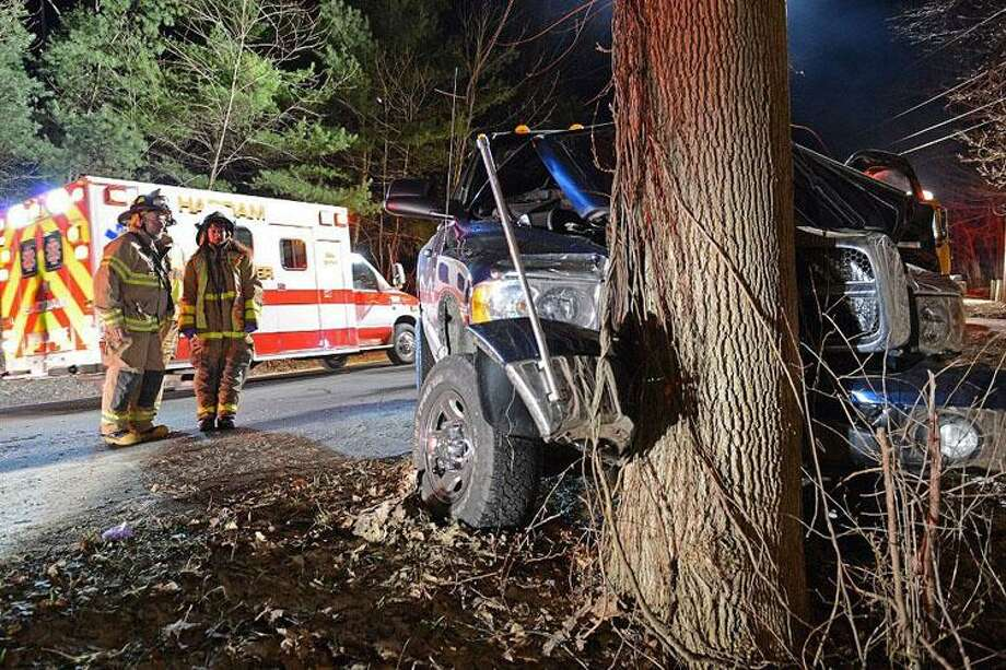Photo by Olivia Drake Haddam Fire Lt. Richard Zanelli and Fire Co. member Rose Eberl are at the scene of an accident early Wednesday morning in Haddam