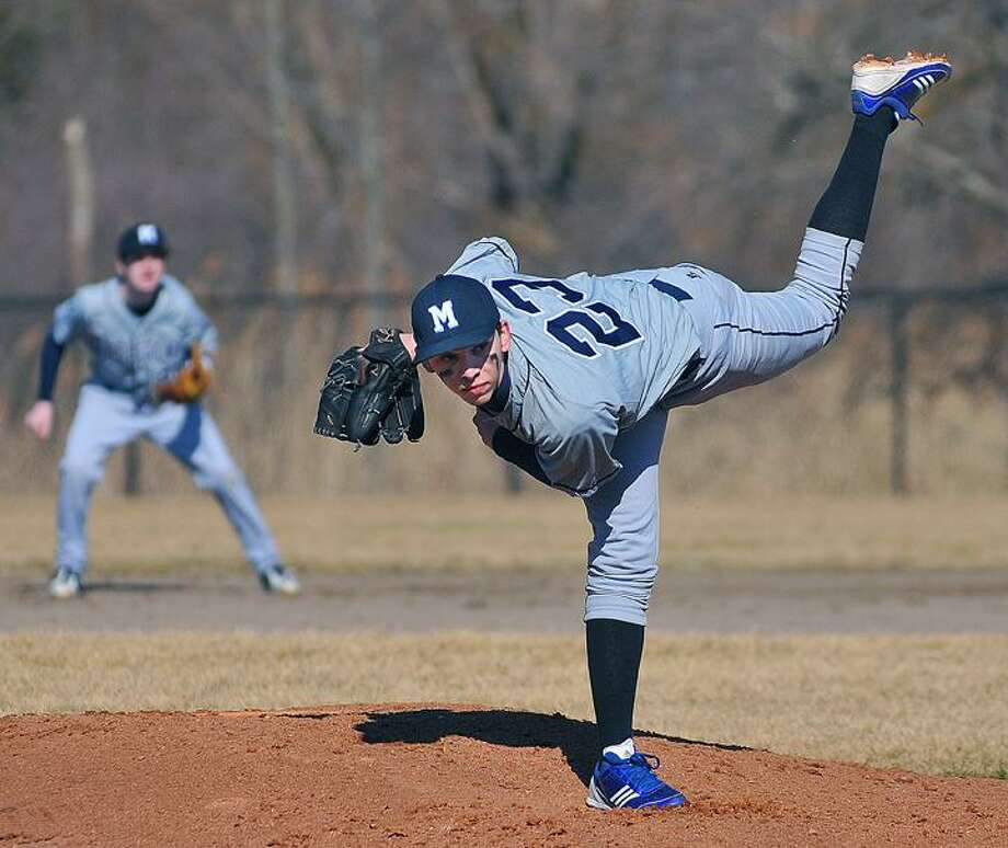 Catherine Avalone/The Middletown Press Middletown junior southpaw Luke Sorenson on the mound against Bloomfield Wednesday afternoon at the John DeNunzio Baseball Field at Middletown High School. / TheMiddletownPress
