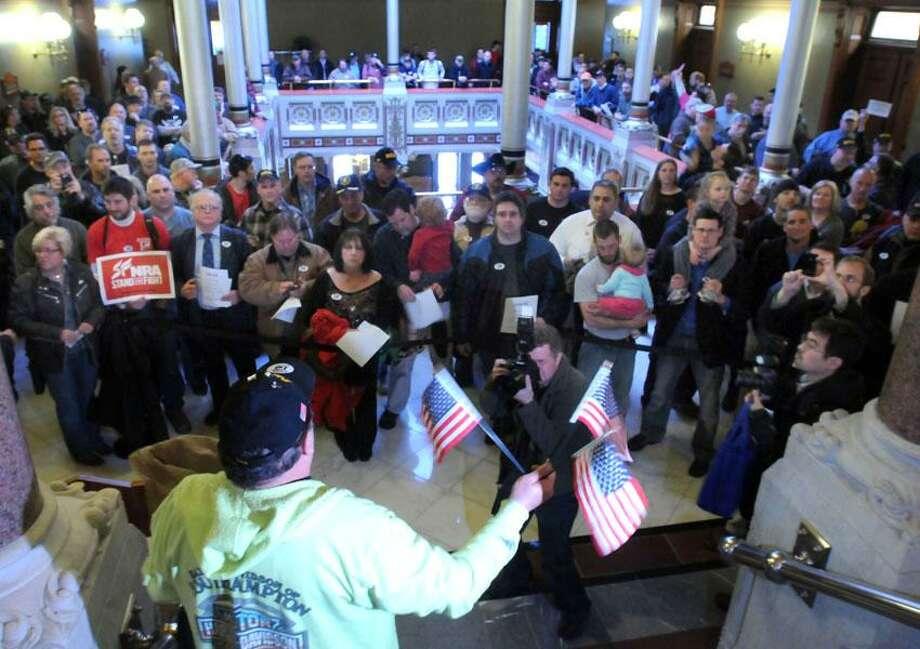 State Capitol, Hartford: pro-gun protestors fill the State Capitol prior to legislators debating a sweeping gun control bill. Mara Lavitt/New Haven Register4/3/13
