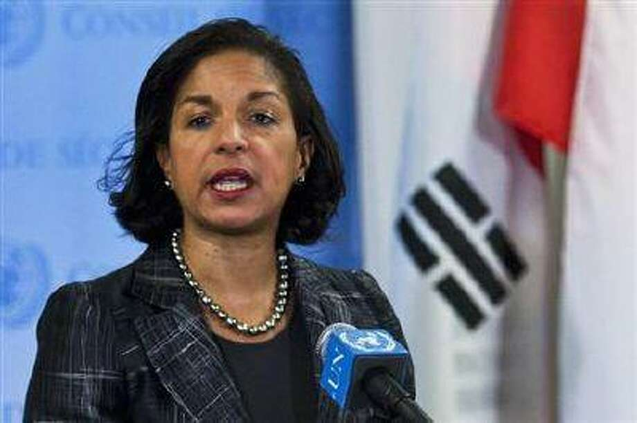 U.S. Ambassador to the United Nations Susan Rice speaks to the media at the U.N. headquarters in New York February 12.