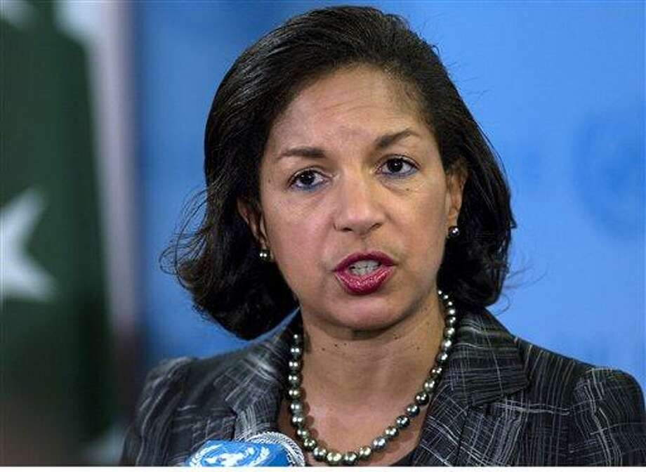 In this Feb. 12, 2013 file photo, U.S. Ambassador Susan Rice speaks at a news conference at U.N. headquarters in New York.    President Barack Obama's top national security adviser Tom Donilon is resigning and will be replaced by U.S. ambassador to the United Nations Susan Rice, marking a significant shakeup to the White House foreign policy team.   (AP Photo/Craig Ruttle, File) Photo: AP / FR61802 AP