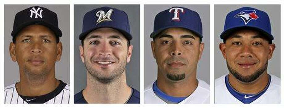 FILE - From left are file photos showing Major League Baseball players Alex Rodriguez, Ryan Braun, Nelson Cruz and Melky Cabrera.  The founder of a Miami anti-aging clinic has agreed to talk to Major League Baseball about players linked to performance-enhancing drugs, a person familiar with the case told The Associated Press on Tuesday night, June 4, 2013. The person declined to be identified because the investigation was still ongoing. Information that Anthony Bosch provides MLB on players who came to the now-closed Biogenesis of America clinic could lead to suspensions. Rodriguez, Braun, Cruz and Cabrera are among the players whose names have been tied to the clinic. (AP Photo/File) Photo: AP / AP