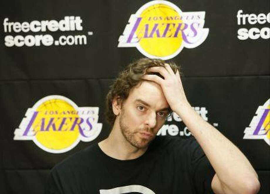 Los Angeles Lakers power forward Pau Gasol talks to reporters during an NBA basketball news conference in El Segundo, Calif., Tuesday, April 30, 2013. The Lakes lost their first-round playoff series to the San Antonio Spurs. Photo: ASSOCIATED PRESS / AP2013