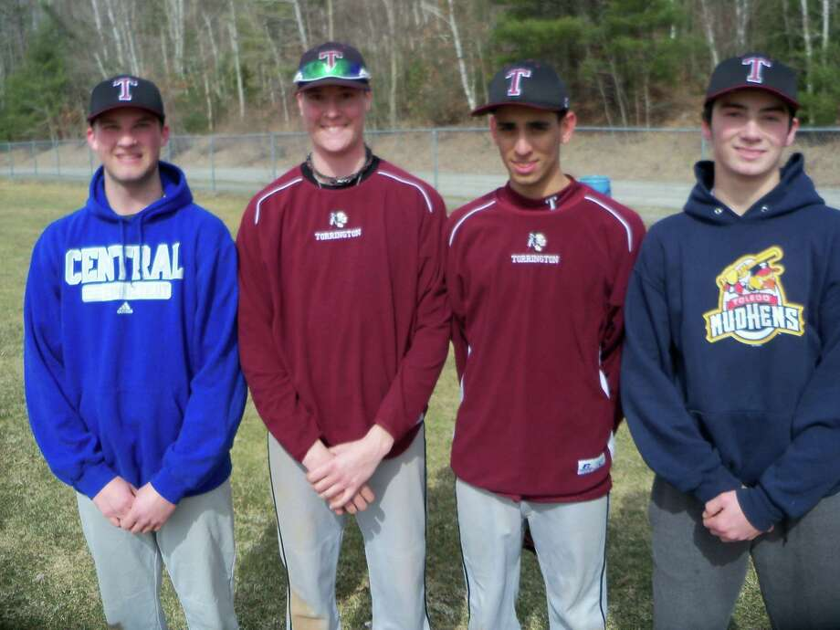 Peter Wallace/Register Citizen Pitchers Kyle Sanford, Cody Lemieux, Roberto Santiago and Shane Bierfeldt are a key to Torrington High School baseball hopes this year.
