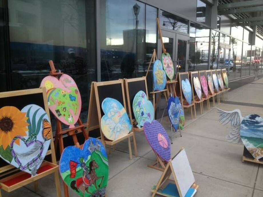 Hearts on display outside The Giggling Pig art studio in Shelton./ Contributed photo