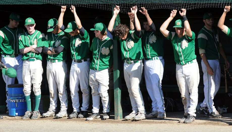 "Notre Dame-West Haven baseball players reacting moments before their loss to Waterford in the Class L state semifinals. Mara Lavitt/New Haven Register <a href=""mailto:mlavitt@newhavenregister.com"">mlavitt@newhavenregister.com</a>"