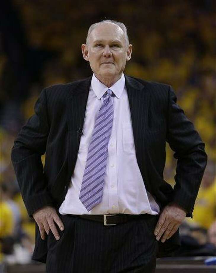 Denver Nuggets coach George Karl reacts during the second half of Game 4 in a first-round NBA basketball playoff series against the Golden State Warriors, April 28, 2013, in Oakland, Calif. Photo: AP / AP
