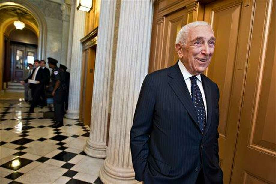 FILE - In this Aug. 2, 2012 file photo, Sen. Frank Lautenberg, D-N.J., smiles after the final votes before the Senate leaves for a five-week recess on Capitol Hill in Washington. Lautenberg was honored Wednesday, May 29, 2013 for his contributions to the Jewish community and Israel. The New Jersey Democrat was feted at New York's Pierre Hotel at the annual gala for Hillel: The Foundation for Jewish Campus life. (AP Photo/J. Scott Applewhite, File) Photo: AP / AP