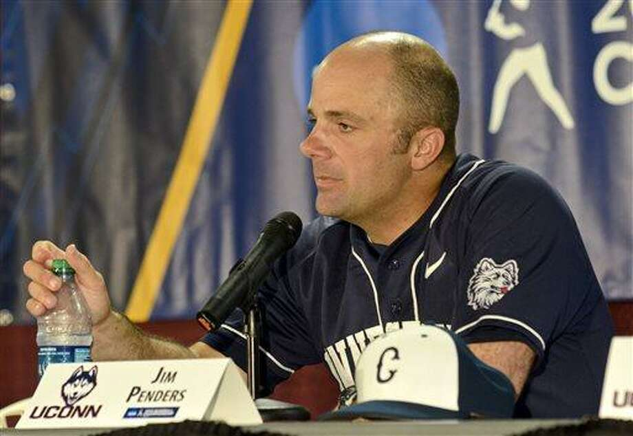 UConn head coach Jim Penders speaks to media following the conclusion of an NCAA college baseball tournament regional game against Virginia Tech at English Field in Blacksburg, Va., Sunday, June 2, 2013.  (AP Photo/Michael Shroyer) Photo: AP / FR 170944 AP