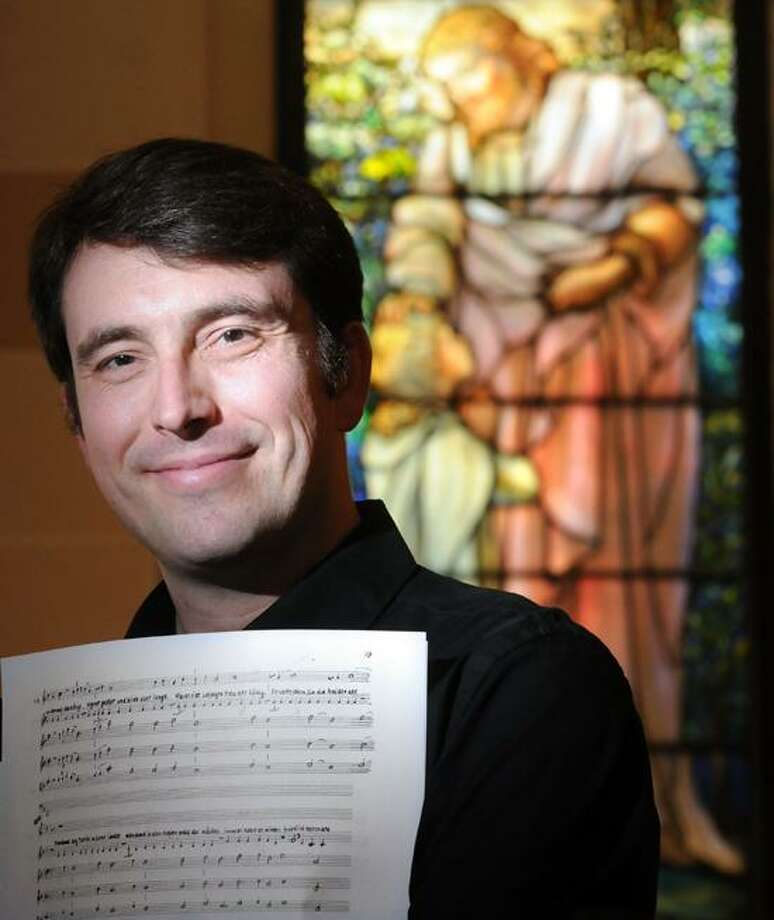 """Mara Lavitt/Register: Adrian Slywotzky is the music director and conductor of the Hugo Kauder opera """"Merlin,"""" which will have its world premiere June 9 in New Haven.  5/29/13"""
