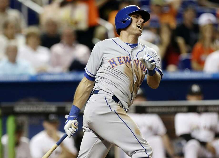 New York Mets batter Rick Ankiel reacts after striking out during the seventh inning of a baseball game against the Miami Marlins in Miami, Saturday, June 1, 2013. The Marlins won 8-1. (AP Photo/J Pat Carter) Photo: AP / AP