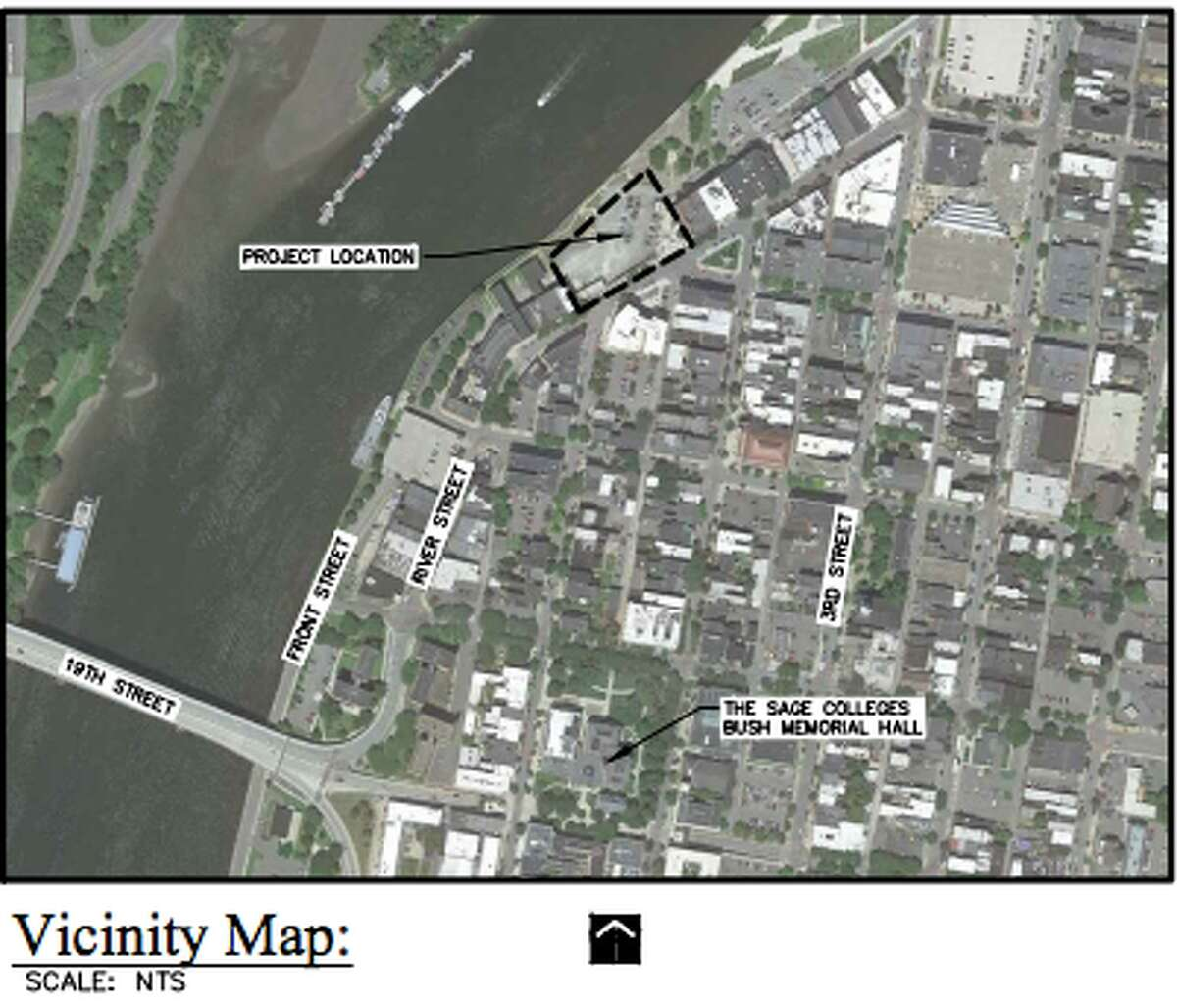 This map shows where Bow Tie Cinema hopes to build a theater complex at 1 Monument Square in Troy.