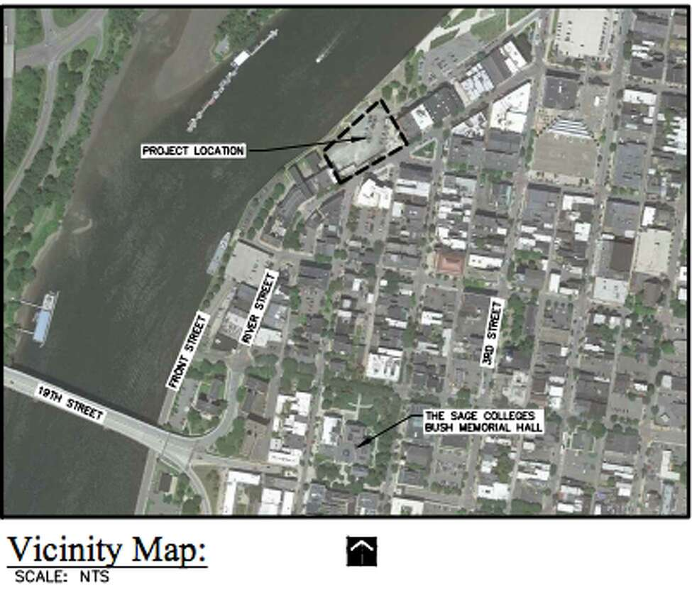 This map shows whereBow Tie Cinema hopes to build a theater complex at 1 Monument Square in Troy.
