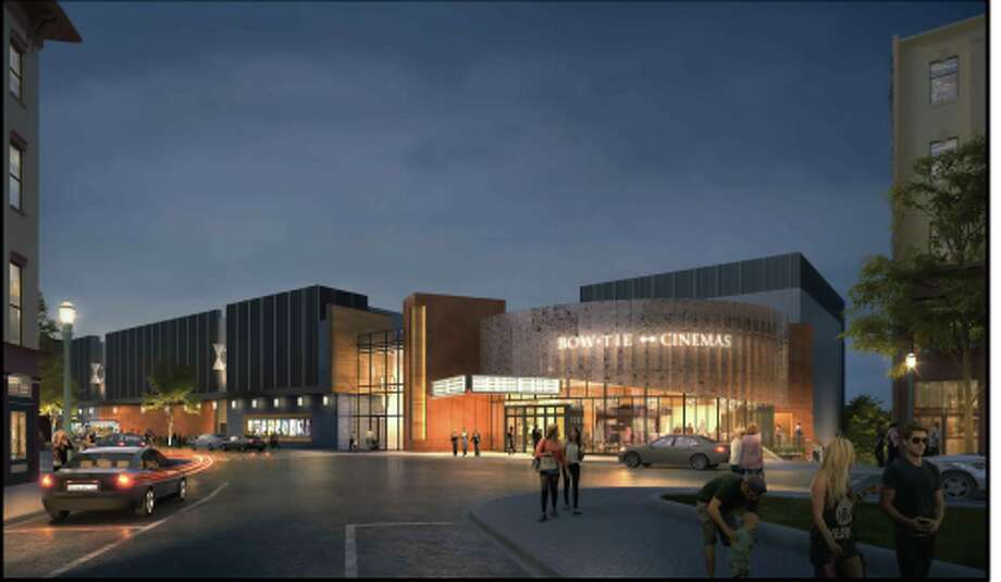 This rendering shows the entrance to the theater Bow Tie Cinema hopes to build at 1 Monument Square in Troy. Photo: City Of Troy