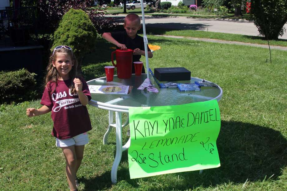 Local entrepreneursKaylyna Brown, 6, andDaniel Nickerson, 7, have been serving up tasty glasses of pink lemonade for the past week at their busy location off of North Port Crescent Street in Bad Axe. The two said they plan on offering refreshments on and off throughout the summer in order to save money up for toys. Photo: Seth Stapleton/Huron Daily Tribune