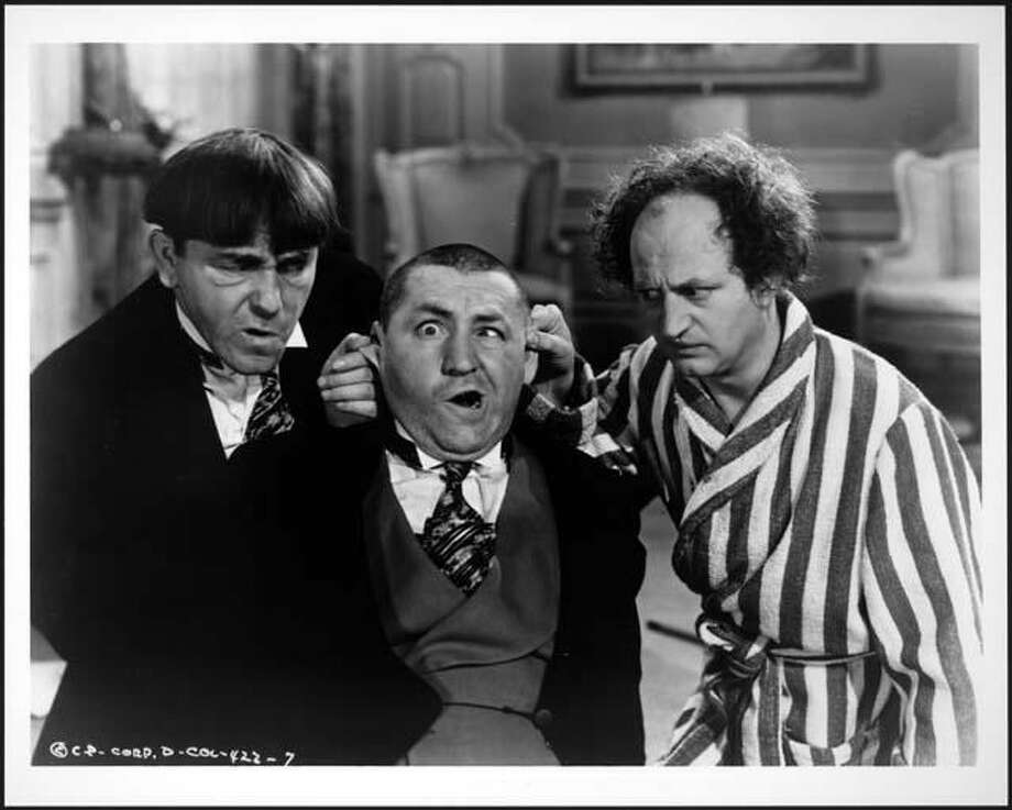 Moe Howard, from left, Curly Howard and Larry Fine of the Three Stooges. Photo: Columbia Pictures