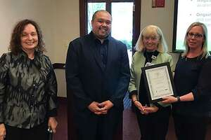 From left: Sharon Bartley and Angelo Bernardo, of New England Donor Services, present Griffin Hospital VP Patient Care Services Barbara Stumpo and Inpatient Services Administrator Kelly Egan with the WPFL Silver Award. Photo courtesy of Griffin Hospital.
