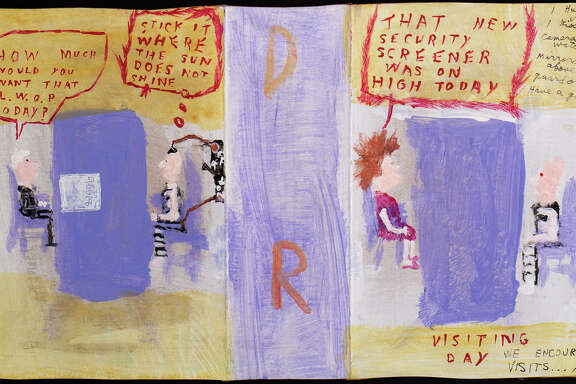 """Gary Cone's """"Visiting Day"""" is among works on view in the traveling show """"Windows on Death Row"""" at O'Kane Gallery."""