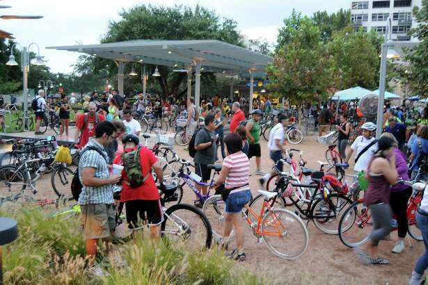 Bikers gather in Market Square Park for the Critical Mass bike ride.