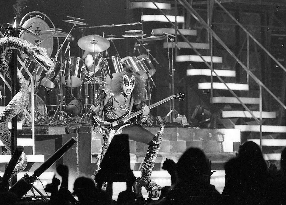 Gene Simmons performs during the Kiss concert.