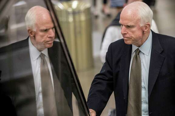 In this file photo from Thursday, June 22, 2017, Senate Armed Services Committee Chairman John McCain, R-Ariz., arrives at the Capitol for a briefing with Senate Majority Leader Mitch McConnell, R-Ky., who is releasing the Republicans' healthcare bill, the party's long-awaited attempt to scuttle much of President Barack Obama's Affordable Care Act, in Washington. McCain, 80, a Vietnam veteran and former prisoner of war and the GOP's presidential nominee in 2008, has been diagnosed with glioblastoma, an aggressive type of brain cancer. (AP Photo/J. Scott Applewhite, File)