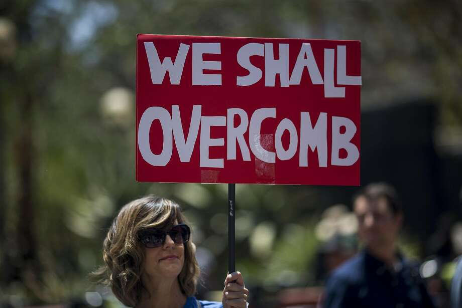 A participant in a pro-impeachment march in Los Angeles on July 2. Photo: David McNew, Getty Images