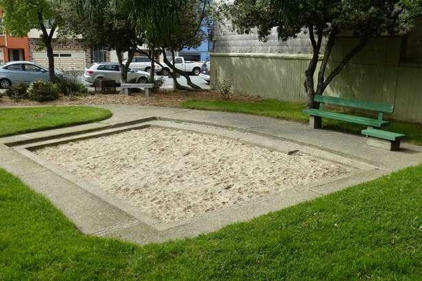 Muriel Leff Mini Park sandbox in the Inner Richmond.