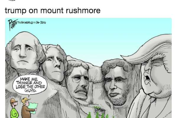 Twitter responds to President Donald Trump's joke about being added to Mount Rushmore.