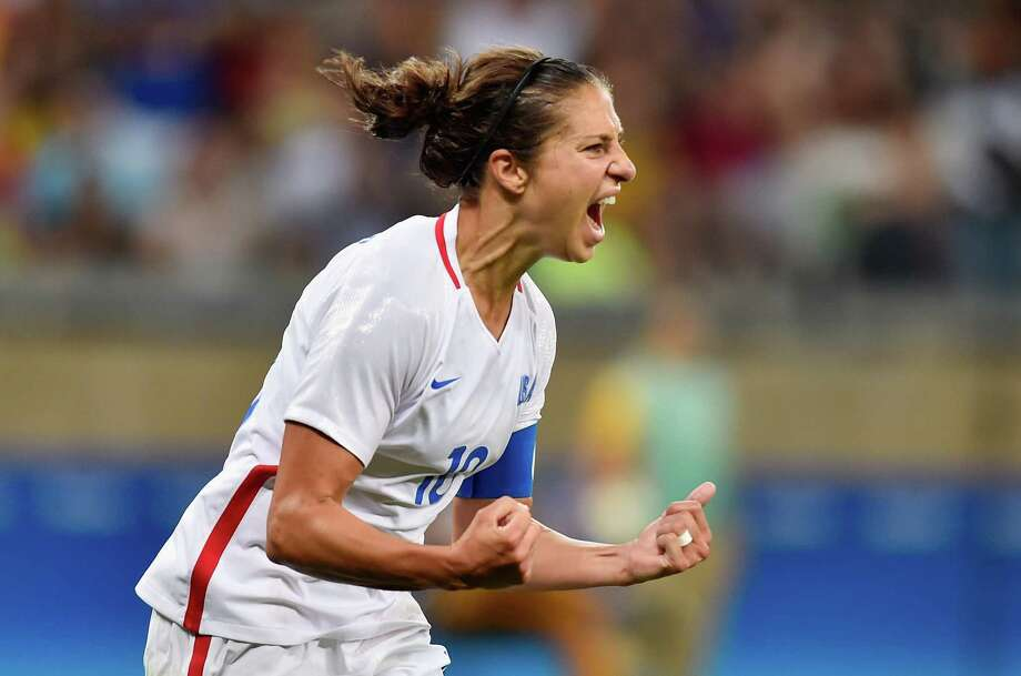 BELO HORIZONTE, BRAZIL - AUGUST 06:  Carli Lloyd of United States celebrates after scoring during the Women's Group G first round match between United States and France during Day 1 of the Rio 2016 Olympic Games at Mineirao Stadium on August 6, 2016 in Belo Horizonte, Brazil.  (Photo by Pedro Vilela/Getty Images) Photo: Pedro Vilela, Stringer / 2016 Getty Images