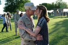 "Michael Kelly as Lt. Col. Gary Volesky and Sarah Wayne Callies as his wife, LeAnn Volesky, on the set of ""The Long Road Home"" at Fort Hood in Killeen."