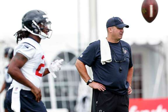 Houston Texans head coach Bill O'Brien watches the first practice of training camp at the Greenbrier on Wednesday, July 26, 2017, in White Sulphur Springs, W.Va.