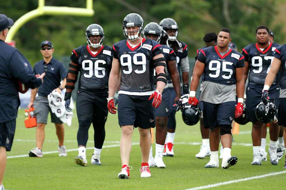 Houston Texans defensive end J.J. Watt (99) leads the defensive line group to the next drill during Texans training camp at the Greenbrier on Wednesday, July 26, 2017, in White Sulphur Springs, W.Va. Photo: Brett Coomer, Houston Chronicle / © 2017 Houston Chronicle}