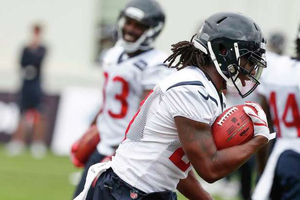 Houston Texans running back D'Onta Foreman (27) runs a drill during the first practice of training camp at the Greenbrier on Wednesday, July 26, 2017, in White Sulphur Springs, W.Va.