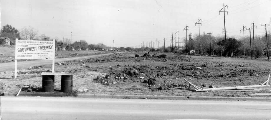 "1958 - This view is looking east towards Hazard Street or Shepherd. The construction sign says ""Progress necessitates inconvenience."" Modern day Houstonians are still hearing that tune. Continue clicking to see how the US-59 freeway has changed over the years in the Houston area. Photo: Houston Chronicle Archives"