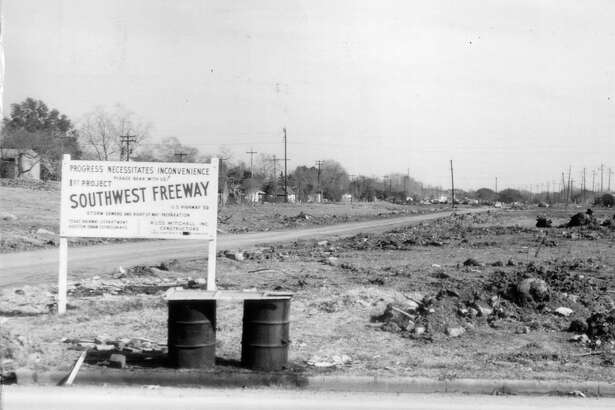 """1958 - This view is looking east towards Hazard Street or Shepherd. The construction sign says """"Progress necessitates inconvenience."""" Modern day Houstonians are still hearing that tune-"""