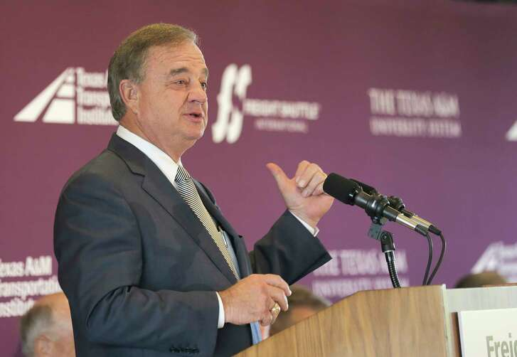 John Sharp, chancellor for Texas A&M University system, addresses the media and guest during a briefing before a demonstration of the autonomous freight shuttle system developed by Freight Shuttle International and Texas A&M on Friday, Sept. 9, 2016, in Houston.