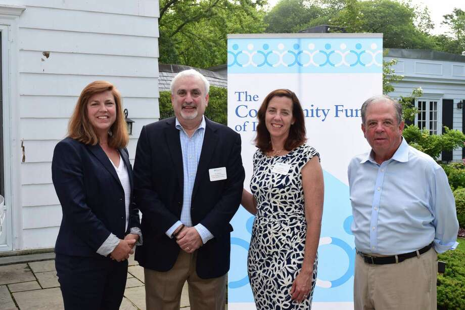 The Community Fund Executive Director, Carrie Bernier (left), Child Guidance Center of Mid-Fairfield County CEO, Roy Berger, The Community Fund Grants Director, Lisa Haas, and The Community Fund Board President, Steve Ward. Photo: Contributed Photo